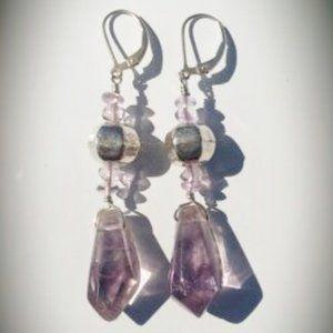 Light Amethyst & Sterling Silver Drop Earrings NWT